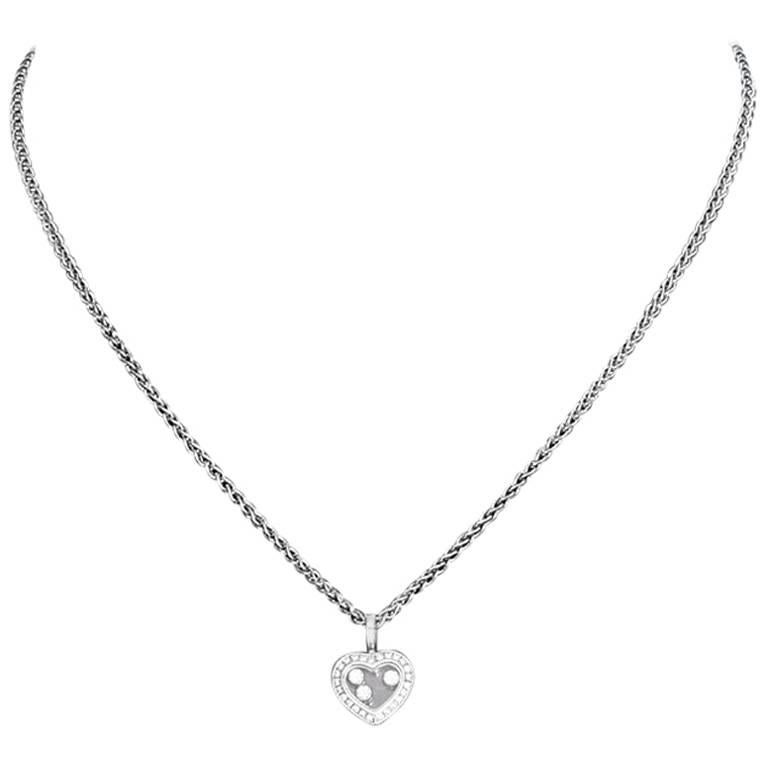 Chopard white gold floating diamond heart necklace at 1stdibs chopard white gold floating diamond heart necklace for sale aloadofball Images