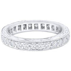 Antique Style Round Diamond Platinum Eternity Wedding Band
