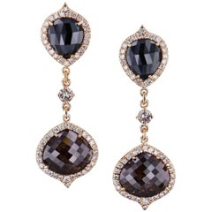 H & H 13.56 Black and Brown Diamond Dangle Earrings