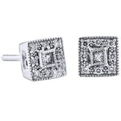 0.20 Carat Diamond Pave Square Stud Earrings