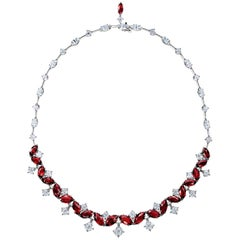 Award Winning 29.30 Carat Mozambique Ruby and Diamond Necklace