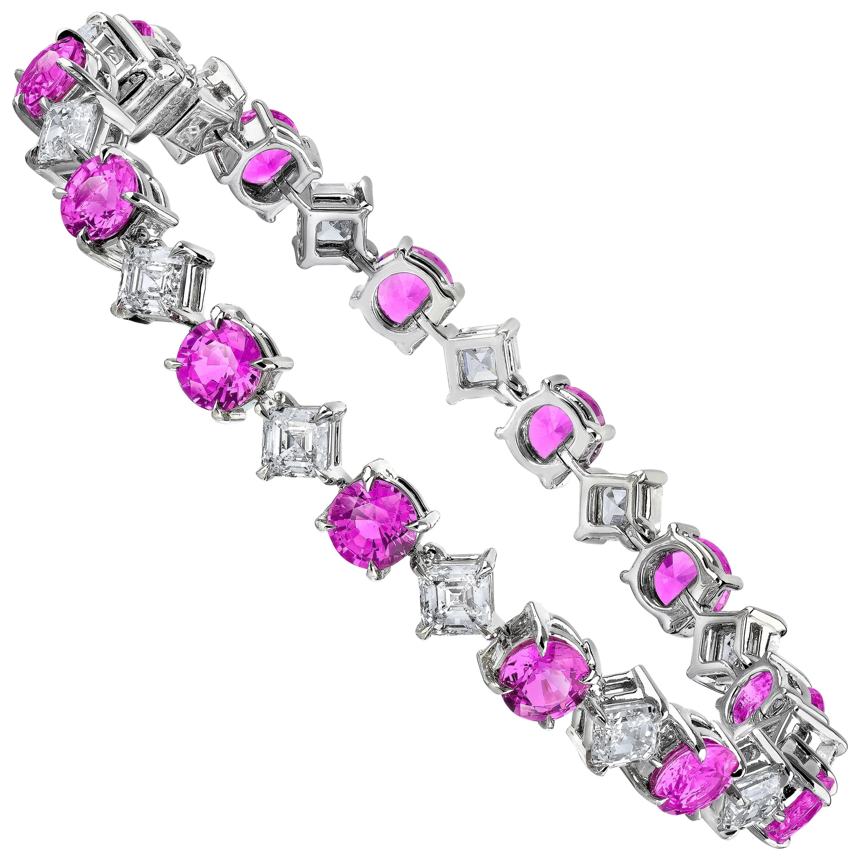 Pink Sapphire and Diamond Platinum Bracelet