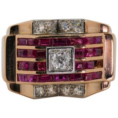 Retro Rose Gold and Platinum Diamond and Burma Ruby Ring
