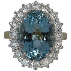 Huge Aquamarine & 1.60 Carat Diamond 18 Carat Gold Cluster Ring