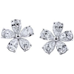 1.90 Carat Flower Stud Earrings