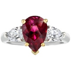 3.08 Carat Pear Shape Ruby and Diamond Platinum and 18k Yellow Gold Ring