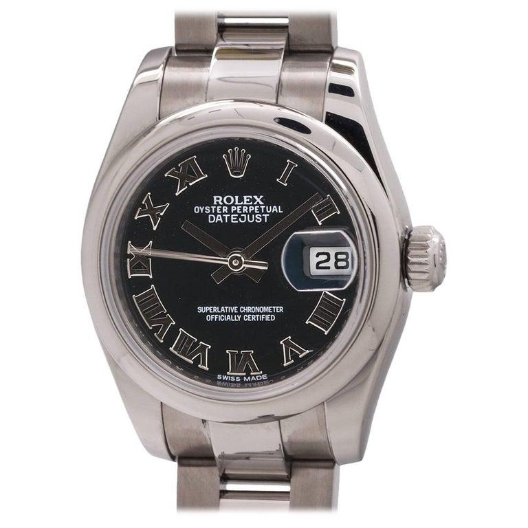Rolex Ladies Stainless Steel Datejust Self Winding Wristwatch Ref 179160
