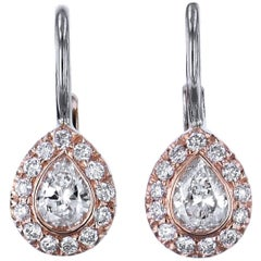 H & H 0.31 Carat Pear-Shaped Diamond Lever-Back Earrings