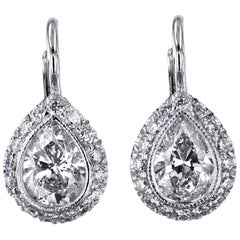 H & H 0.85 Carat Pear-Shaped Diamond Lever-Back Earrings