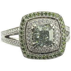GIA 1.50 Carat Fancy Intense Green VS2 Radiant Diamond Ring