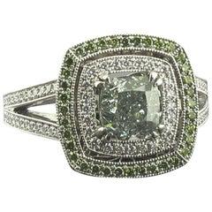 GIA 1.50 Carat Fancy Intense Green VS2 Radiant Diamond Ring