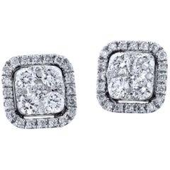 0.56 Carat Square Diamond Pave Stud Earrings