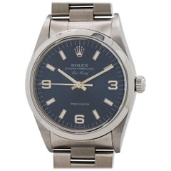 Rolex Stainless Steel Airking Blue Dial Self Winding Wristwatch Ref 14000