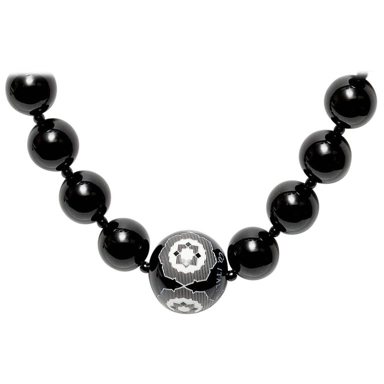 Tiffany & Co. Paloma Picasso Zellige Black and White Resin Bead Necklace