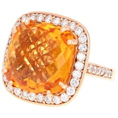 14.81 Carat Citrine Quartz Diamond Rose Gold Ring