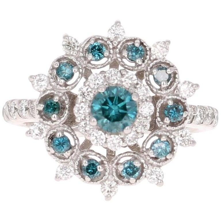 1.34 Carat Blue Treated Diamond White Diamond Cocktail Ring