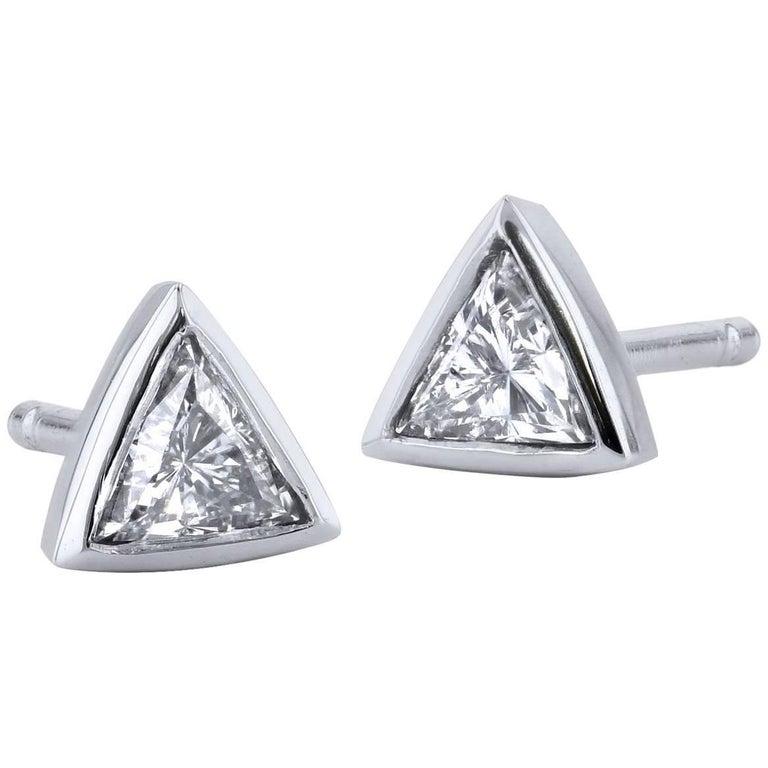H 0 33 Carat Trillion Cut Diamond Bezel Set Stud Earrings For