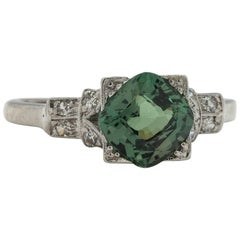 2.05 Carat Cushion Cut Green Sapphire Platinum Ring