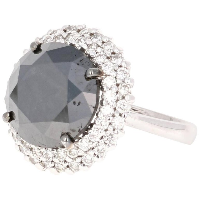 11.06 Carat Black and White Diamond Bridal Ring