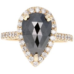 3.30 Carat Black Diamond and White Diamond Engagement Ring