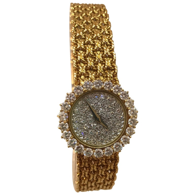 Baume & Mercier 18k Yellow Gold Pave Diamond Dial & Bezel Bracelet Lady's Watch