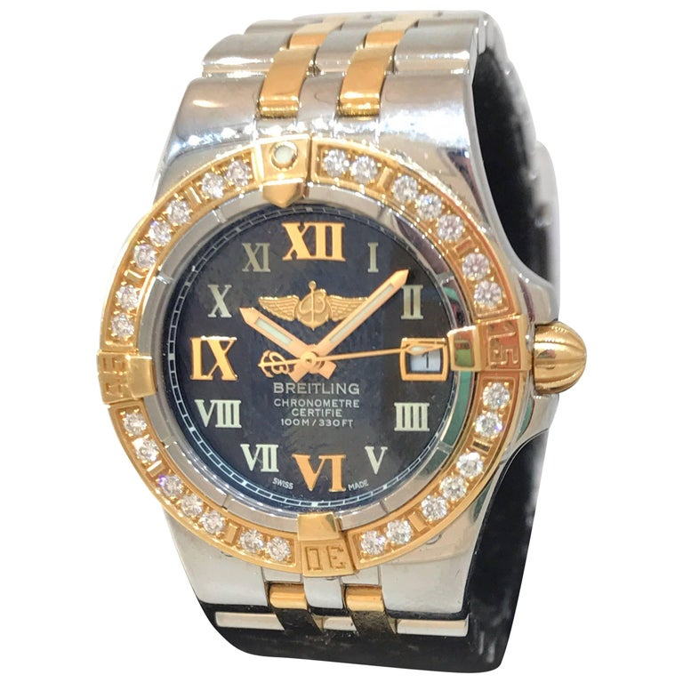 Breitling Galactic Steel and Rose Gold Black Dial Diamond Bezel Ladies Watch