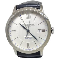 Baume & Mercier Classima Core Automatic Dual Time Steel Leather Band Men's Watch