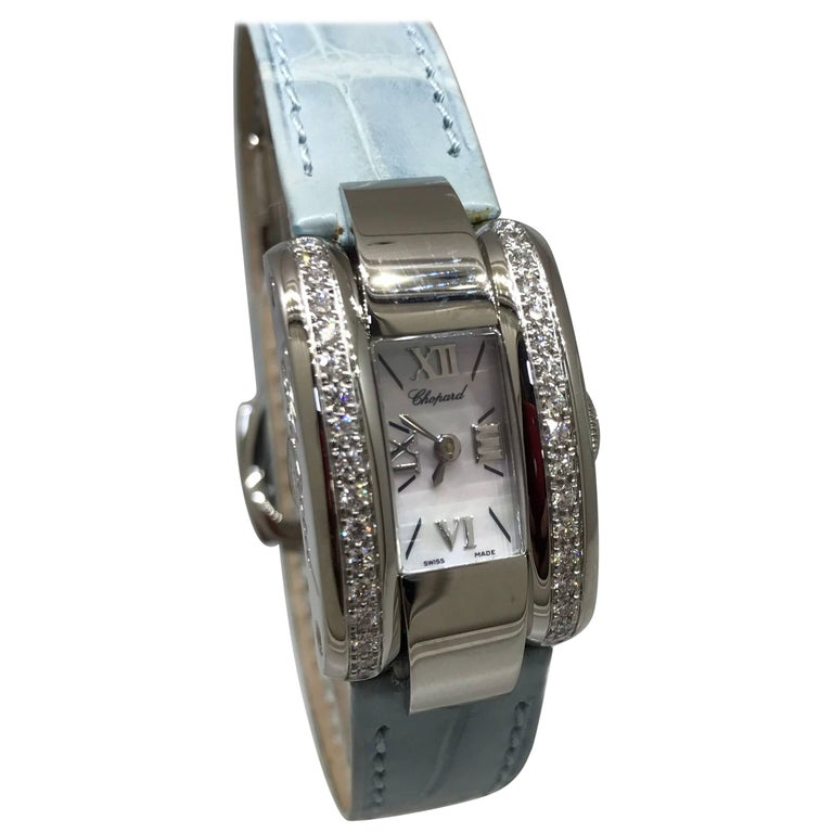 Chopard La Strada Stainless Steel Diamond White Dial Leather Band Ladies Watch