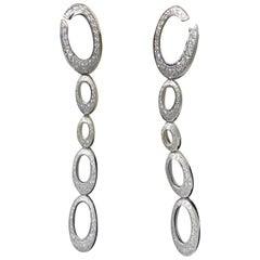 Chopard 18 Karat White Gold Long Hanging Diamond Earrings