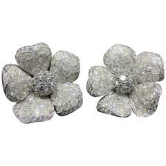 De Grisogono Large 18 Karat White Gold Pave Diamond Earrings