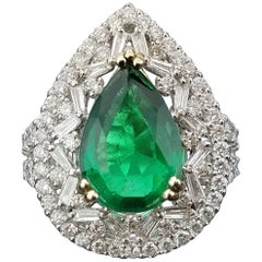 3.52 Carat Pear Shape Emerald and Diamond Cocktail Ring
