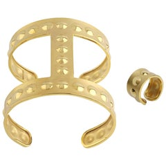 Youmna Fine Jewellery 18 Karat Yellow Gold Gladiator Bubble Cuff and Ring Set