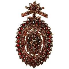 Antique Victorian Bohemian Garnet Locket Brooch, circa 1880