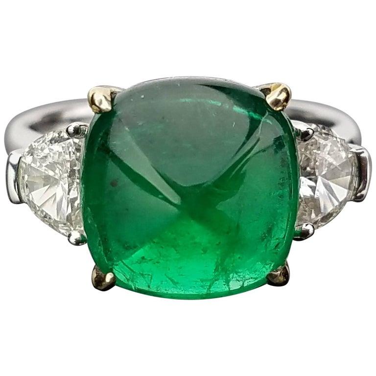 5 06 Carat Emerald Sugarloaf And Diamond Three Stone Ring
