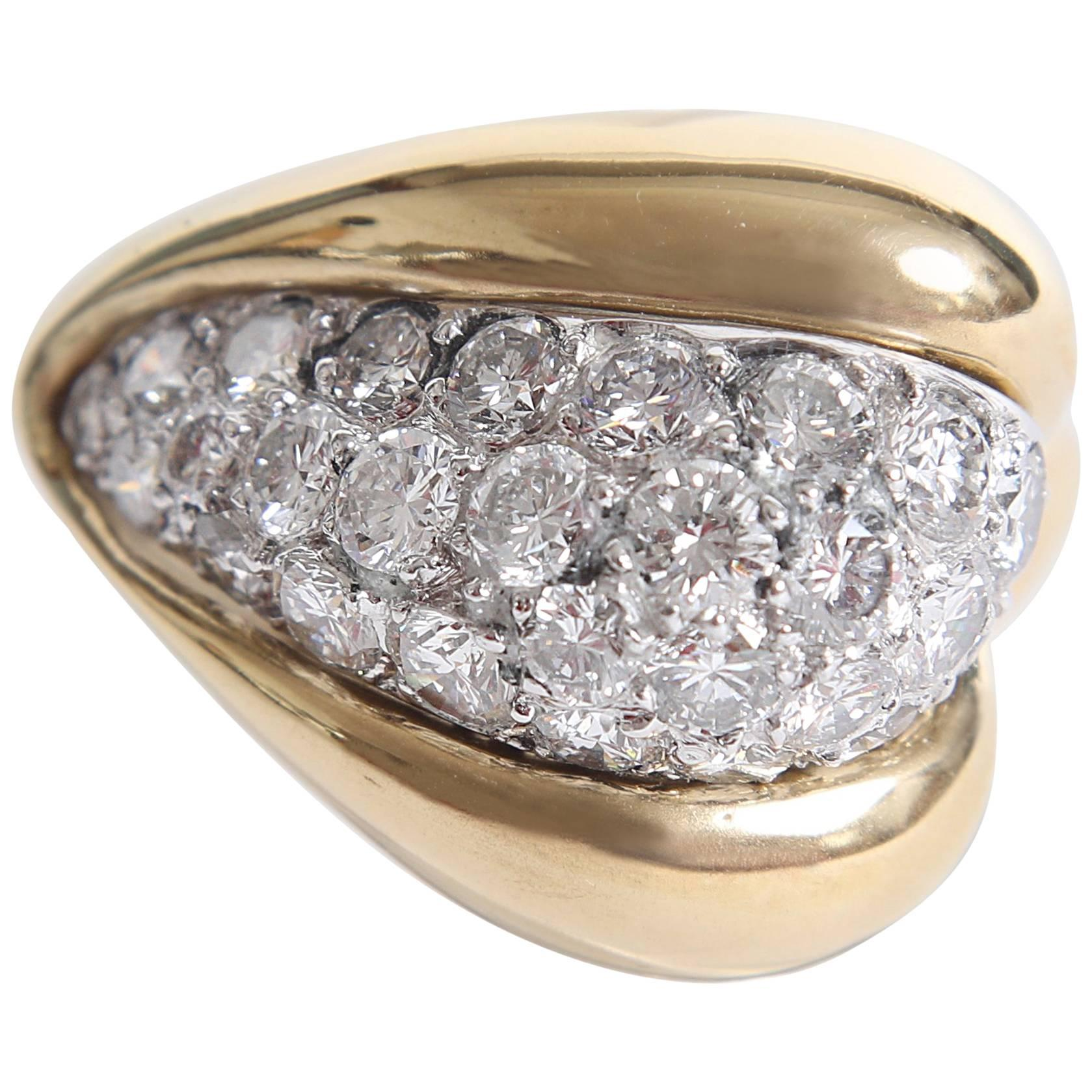Diamond and 18K Yellow Gold Boule Ring by Marion Jeantet