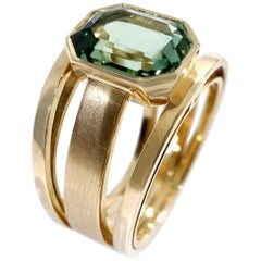 Coralie Van Caloen 18 Carat Yellow Gold Green Tourmaline Band Ring