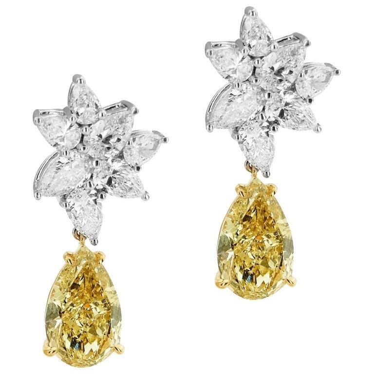 GIA Certified Pear Cut 2.67 ct Fancy Brownish Greenish Yellow Diamond Earrings