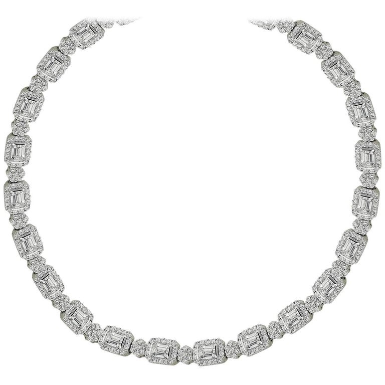 HRD and GIA Certified White Gold Exclusive 9.85 ct Diamond Necklace