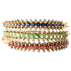 1940 Diamond Sapphire Emerald 18K Gold Stacking Bangles Bracelet