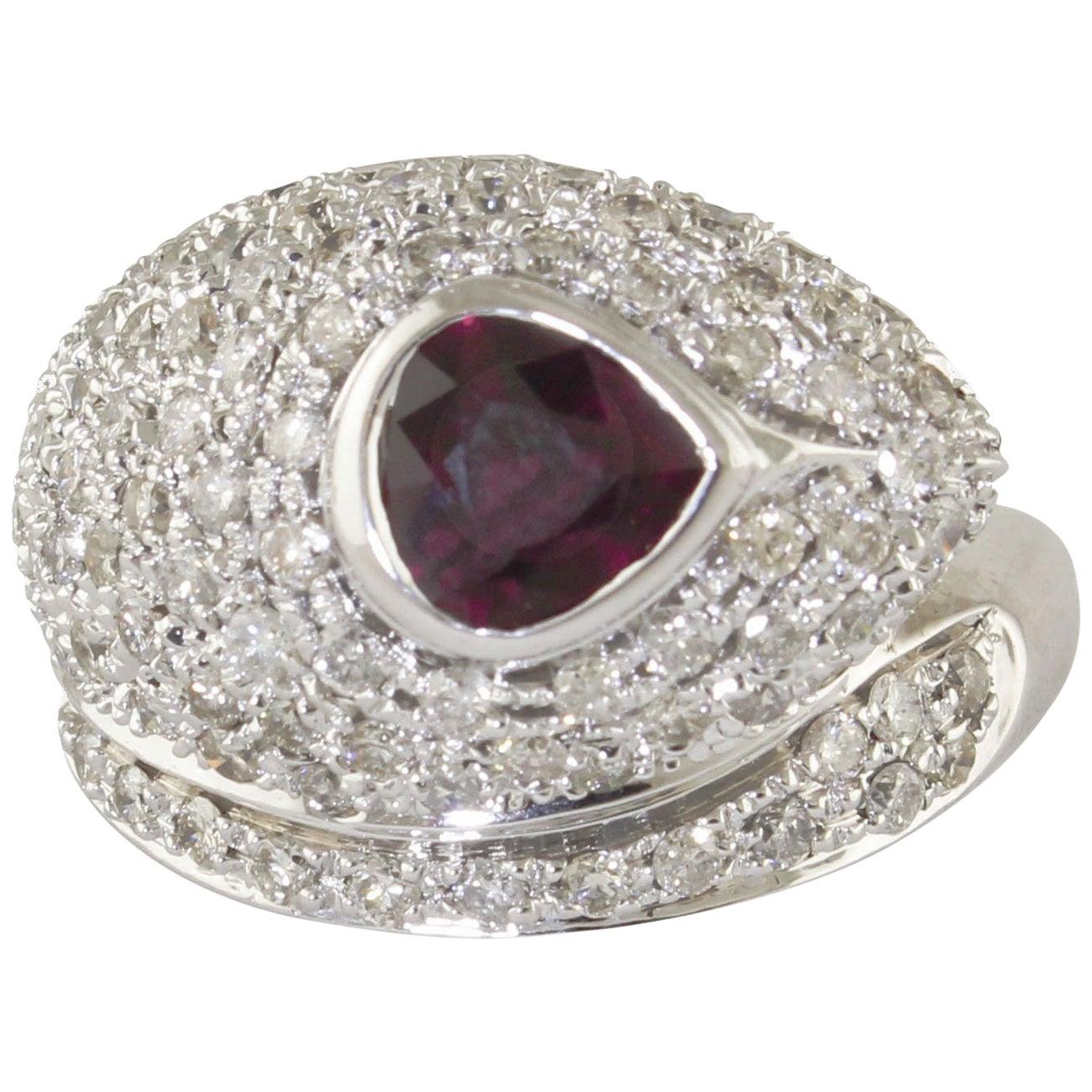 Ruby Diamonds White Gold Snake Ring