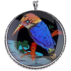 Antique Victorian Kingfisher Pendant Brooch Butterfly Wing, circa 1900