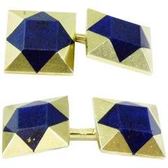 Circa 1920 Art Deco Lapis Lazuli Yellow Gold Cufflinks