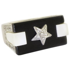 Onyx White Agate Diamonds White Gold Star Ring