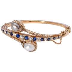 Victorian Natural Pearl, Sapphire and Diamond Yellow Gold Bangle