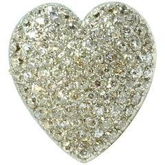 Victorian Pavé Diamond Heart Brooch Pendant