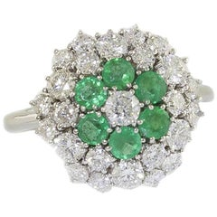 Emeralds Diamonds White Gold Flower Ring