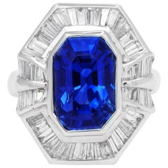 Emerald Cut Sapphire Baguette Diamond Cocktail Ring