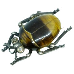Circa 1880 Victorian Tiger's Eye Beetle Diamond Brooch
