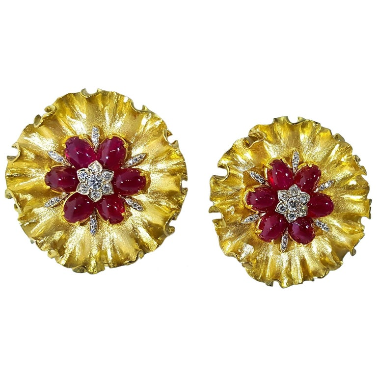 Textured Ruby and Diamond Yellow Gold Clip Earrings