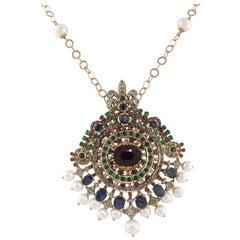 Precious Stones Diamond Pearl Gold And Silver Necklace